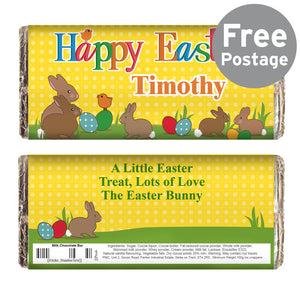 Personalised Easter Bunny Milk Chocolate Bar - PureEssenceGreetings
