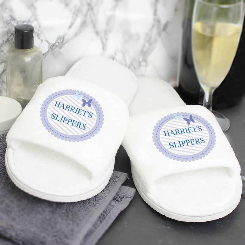 Personalised Butterfly Velour Slippers - PureEssenceGreetings