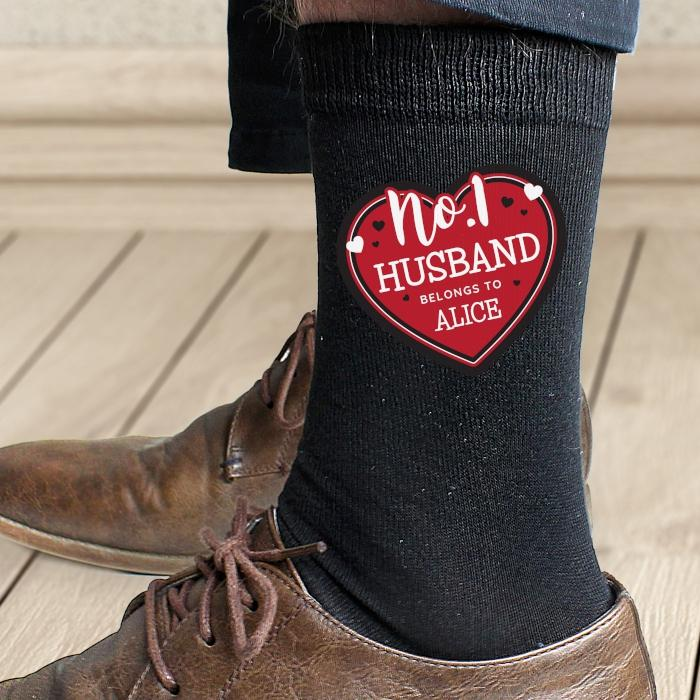 Personalised Hearts No.1 Men's Socks - PureEssenceGreetings