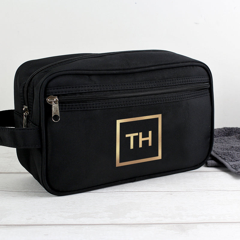 Personalised Gold Initials Black Wash Bag - PureEssenceGreetings