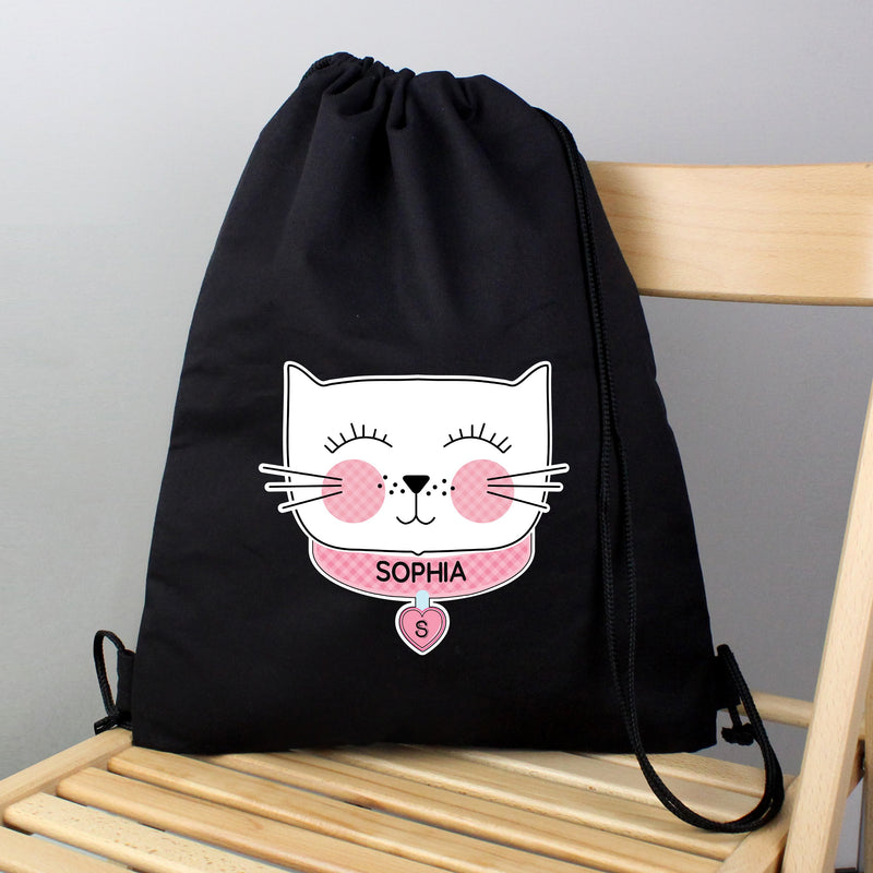 Personalised Cute Cat Black Swim & Kit Bag - PureEssenceGreetings