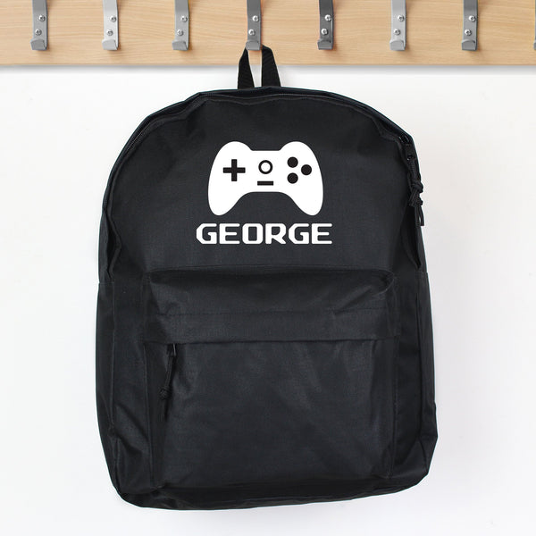 Personalised Gaming Black Backpack - PureEssenceGreetings