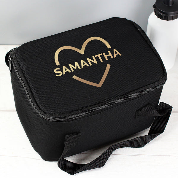 Personalised Gold Heart Black Lunch Bag - PureEssenceGreetings