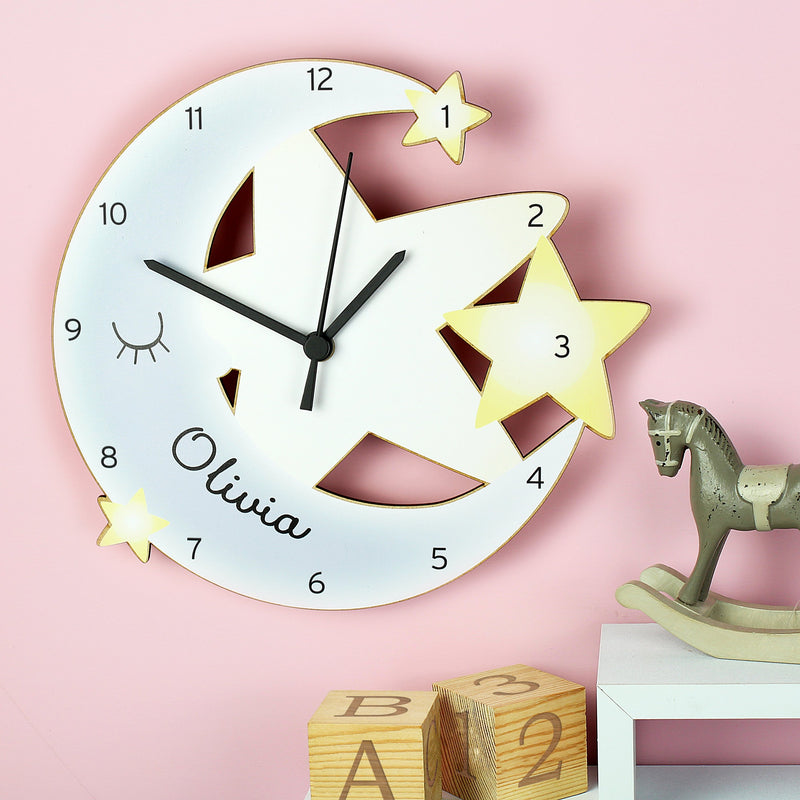 Personalised Moon and Stars Shape Wooden Clock - PureEssenceGreetings