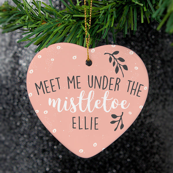 Personalised 'Meet Me Under The Mistletoe' Ceramic Heart Decoration - PureEssenceGreetings