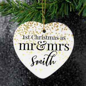 Personalised Mr and Mrs 1st Christmas Ceramic Heart Decoration - PureEssenceGreetings