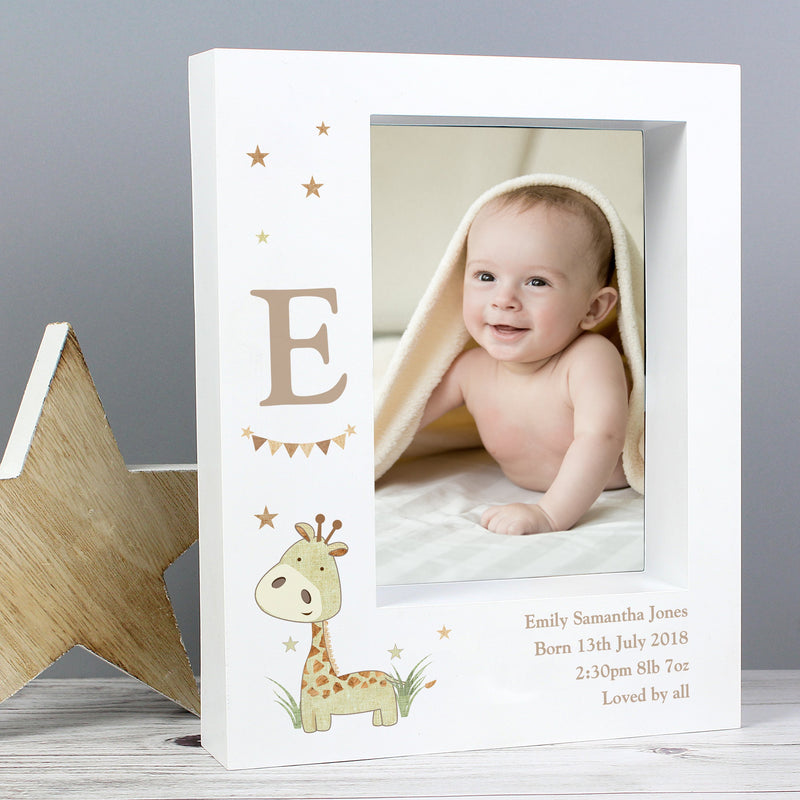 Personalised Hessian Giraffe 7x5 Box Photo Frame - PureEssenceGreetings