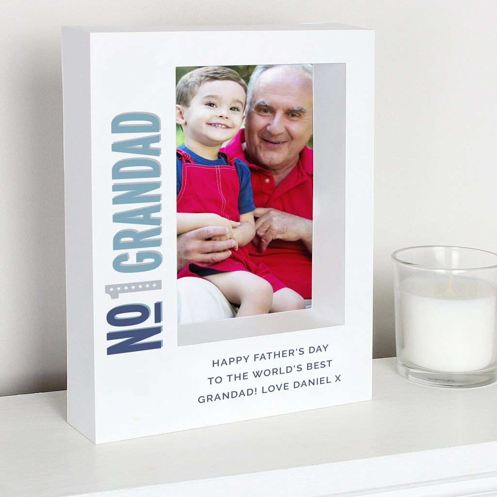 Personalised No.1 7x5 Box Photo Frame - PureEssenceGreetings