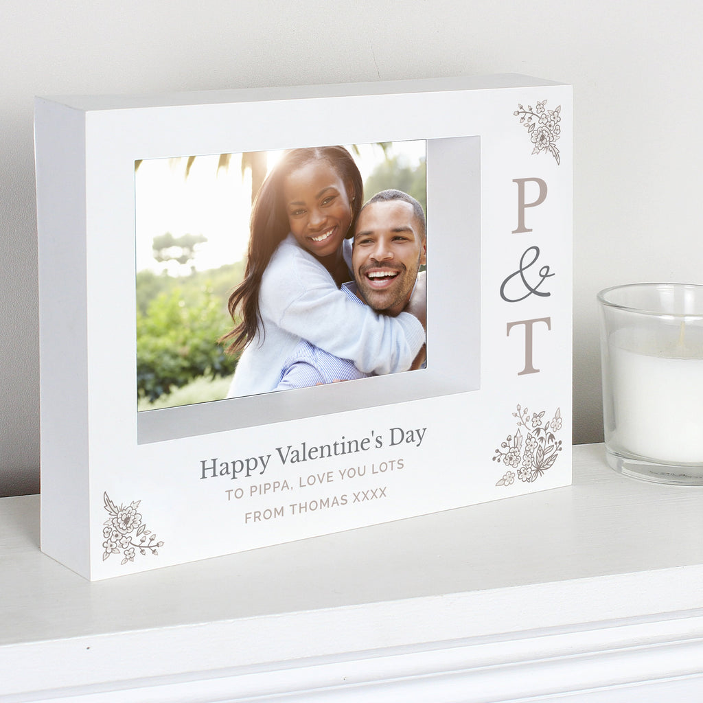 Personalised Couples Initials 7x5 Landscape Box Photo Frame - PureEssenceGreetings