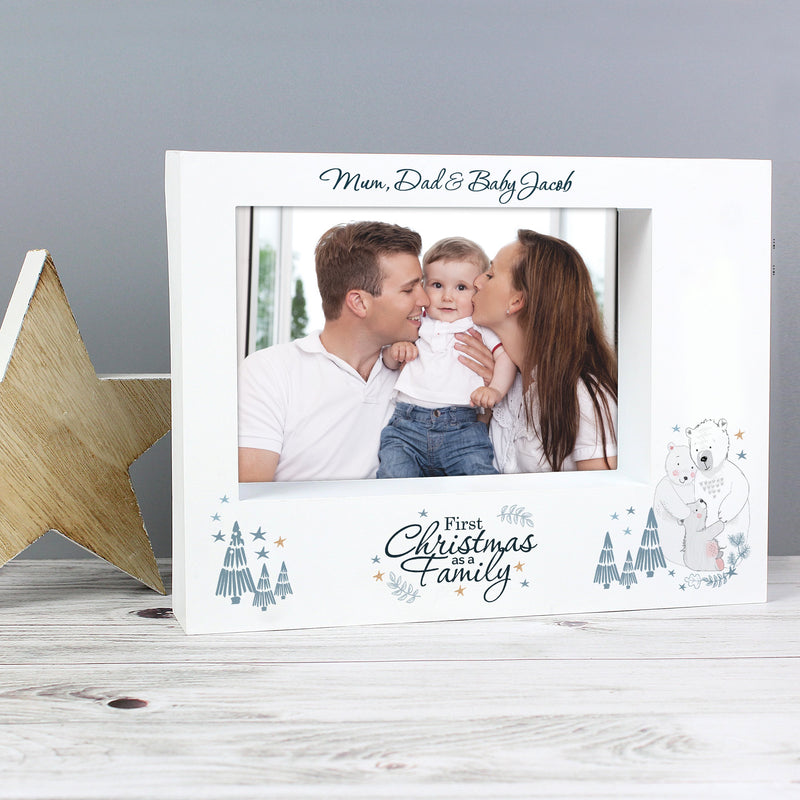 Personalised Polar Bear '1st Christmas As A Family' 7x5 Box Photo Frame - PureEssenceGreetings