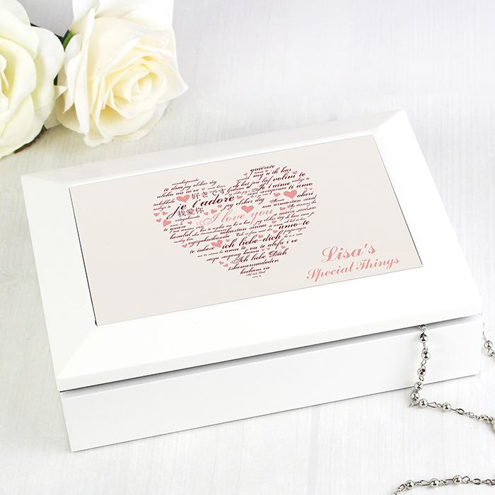 Personalised I Love You White Jewellery Box - PureEssenceGreetings