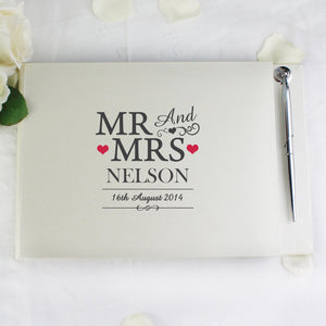 Personalised Mr & Mrs Hardback Guest Book & Pen - PureEssenceGreetings