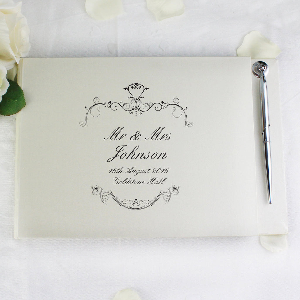Personalised Ornate Swirl Hardback Guest Book & Pen