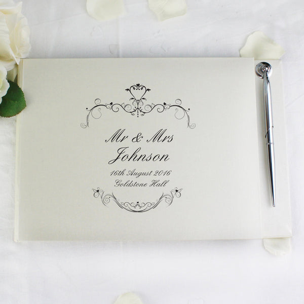 Personalised Ornate Swirl Hardback Guest Book & Pen - PureEssenceGreetings