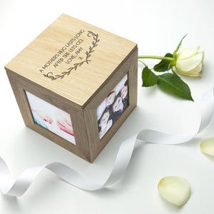 PERSONALISED MOTHER'S LOVE OAK PHOTO CUBE PureEssenceGreetings