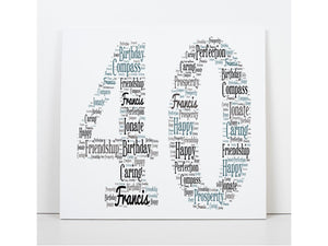 Personalised 40th Birthday Word Art Square Greeting Cards PureEssenceGreetings