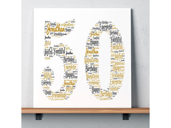 Personalised 50th Birthday Word Art Square Greeting Cards PureEssenceGreetings