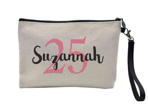 Personalised Birthday Linen Makeup Bag PureEssenceGreetings