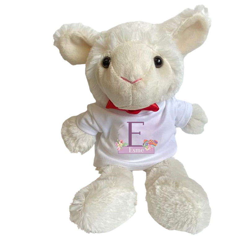 Personalised Easter Lamb Teddy Bear with T-shirt PureEssenceGreetings