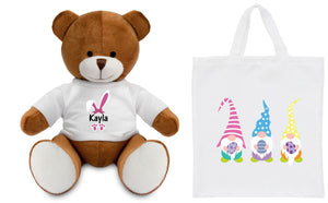 Personalised Easter Teddy in a Bag PureEssenceGreetings