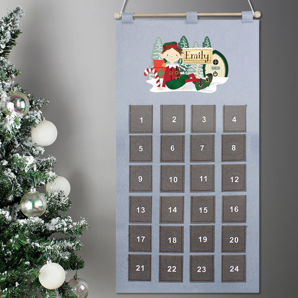 Personalised Elf Felt Advent Calendar PureEssenceGreetings