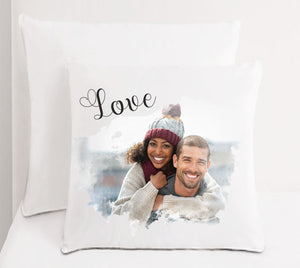 Personalised Faux Silk Photo Cushion - PureEssenceGreetings