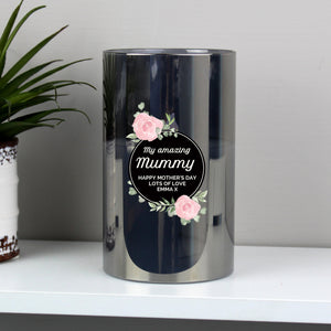 Personalised Floral Smoked Glass LED Candle PureEssenceGreetings