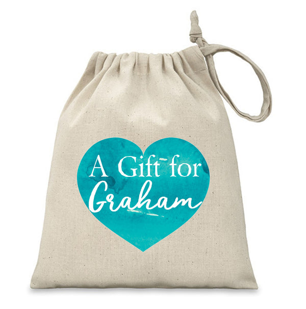 Personalised Gift Bag/Pouch | Blue Heart PureEssenceGreetings