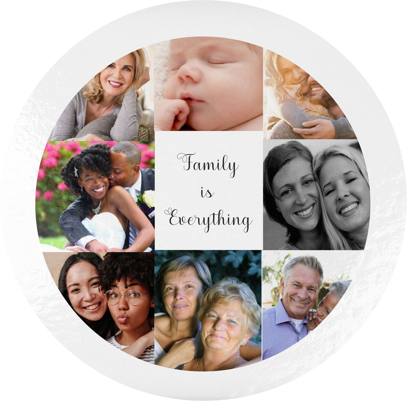 Personalised Glass 8 Photo Collage Round Chopping Board PureEssenceGreetings