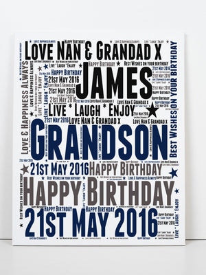 Personalised Grandson Birthday Word Art Greeting Card PureEssenceGreetings