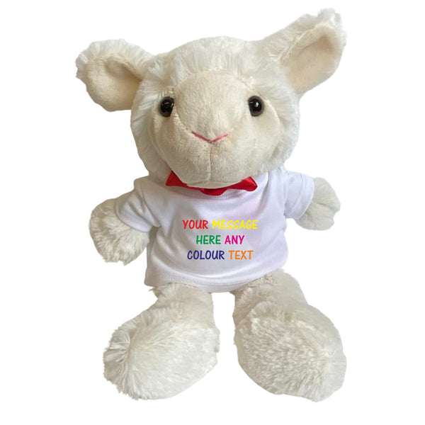 Personalised Lamb Teddy Bear with T-shirt PureEssenceGreetings