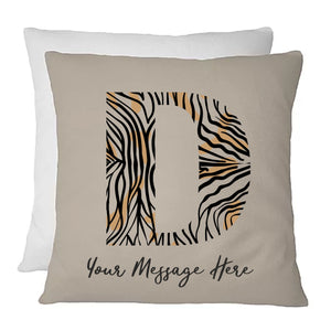 Personalised Letter Cushion | Zebra Design | Any Initial | Own Text | Name Cushion | Birthday | Christmas | New Home | Home Furnishing PureEssenceGreetings