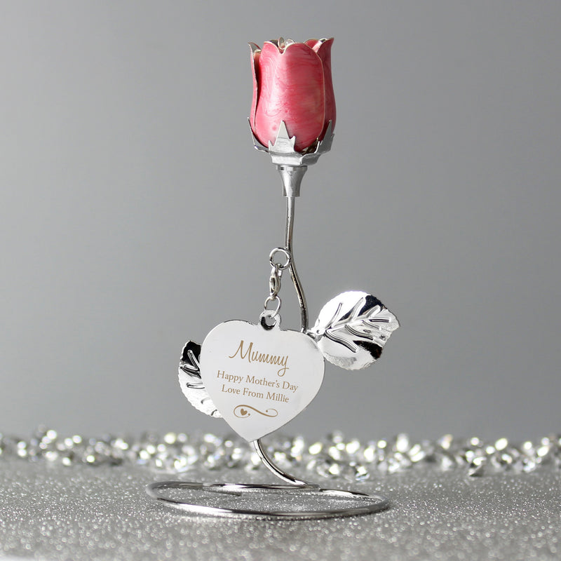 Personalised Silver Plated Rose Gold Rose Bud Ornament PureEssenceGreetings