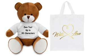 Personalised Teddy Bear in a Bag | Own Text PureEssenceGreetings