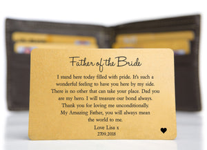 Personalised Wedding Wallet Card | Father of the Bride | Father of the Groom PureEssenceGreetings