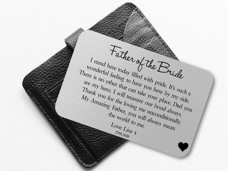 Personalised Wedding Wallet Card | Father of the Bride PureEssenceGreetings