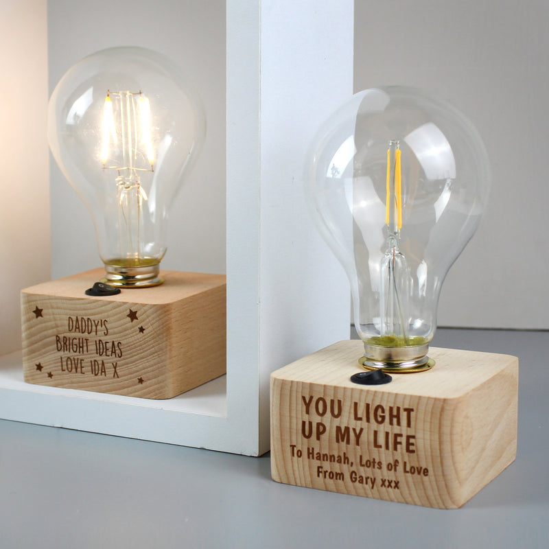 Personalised You Light Up My Life LED Bulb Table Lamp PureEssenceGreetings