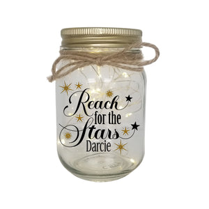 REACH FOR THE STARS Personalised LED Candle Jar Light PureEssenceGreetings