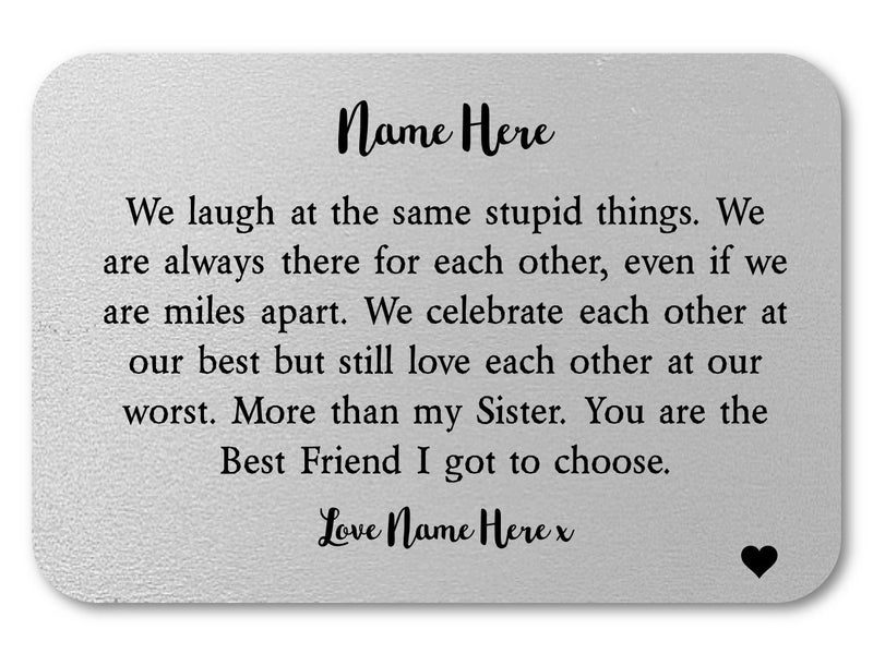 Sister Personalised Keepsake Mini Cards - More Than/Sister - PureEssenceGreetings