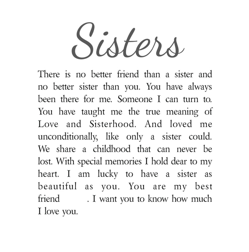 Sisters Personalised Box Frame Poem PureEssenceGreetings