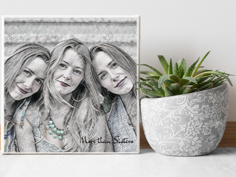 Personalised Picture to Painting Canvas - Vintage Charm Design  Digital Artwork - PureEssenceGreetings