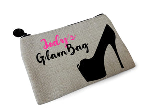 Glam Bag Personalised Linen Make Up Pouch
