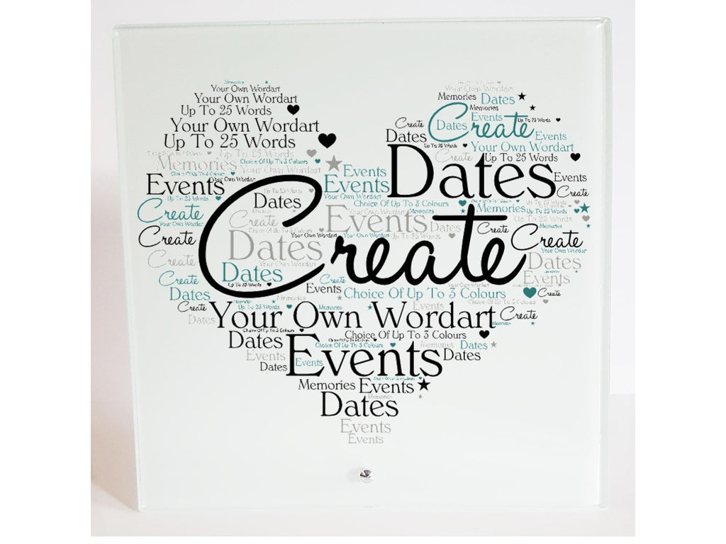 Personalised Word Art Glass Plaque - Own Text - PureEssenceGreetings