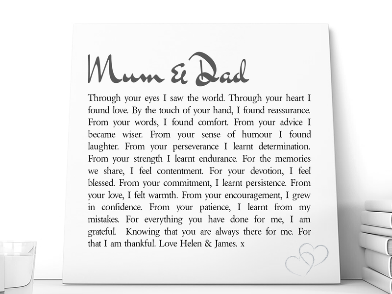 Mum & Dad Personalised Ceramic Plaque - PureEssenceGreetings
