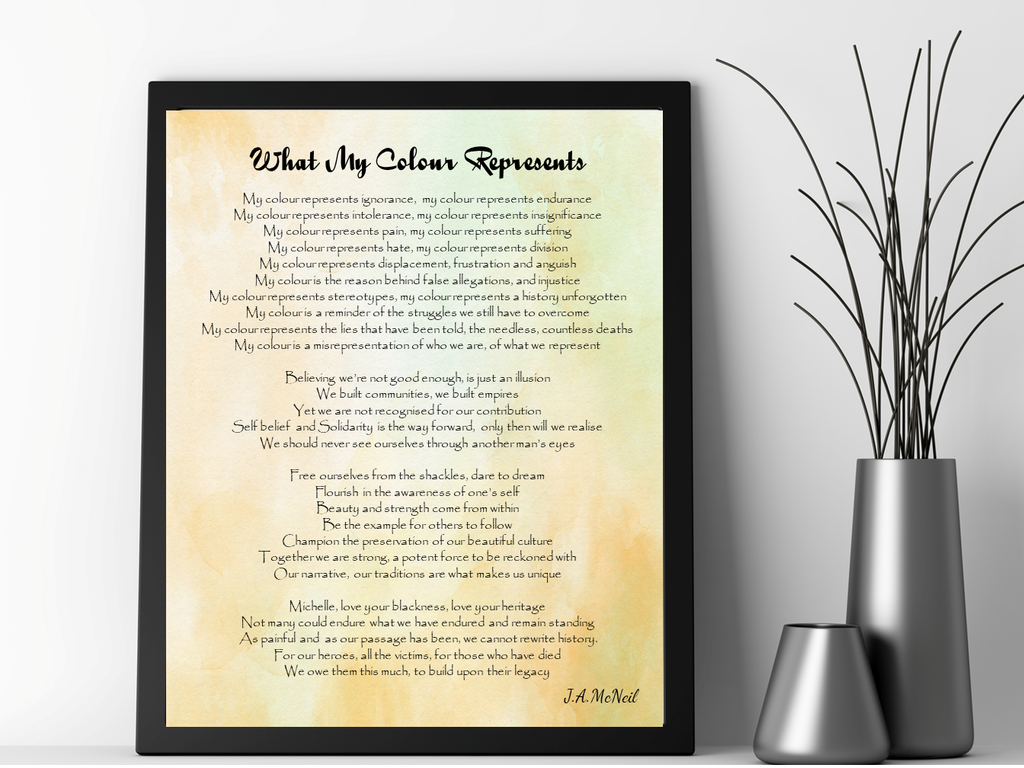 What My Colour Represents Personalised Framed Poem - PureEssenceGreetings