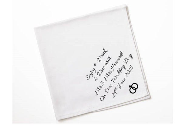 Personalised Wedding Napkins | Enjoy Drink Dine