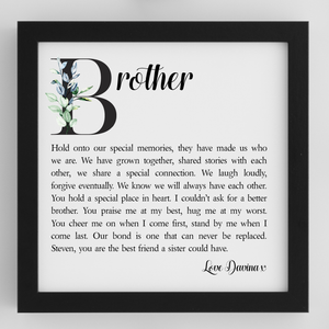Brother Personalised Framed Poem - PureEssenceGreetings
