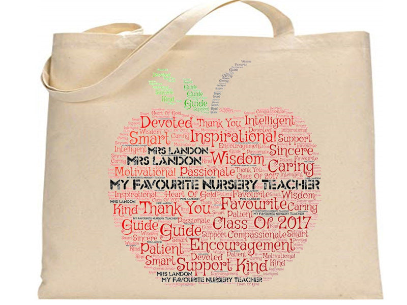 Personalised Word Art Nursery Teacher Bag