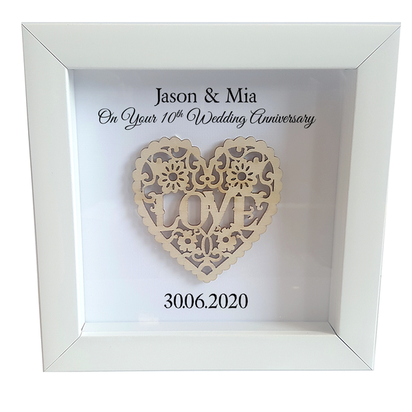 Your Anniversary Personalised Box Framed Love Heart - PureEssenceGreetings
