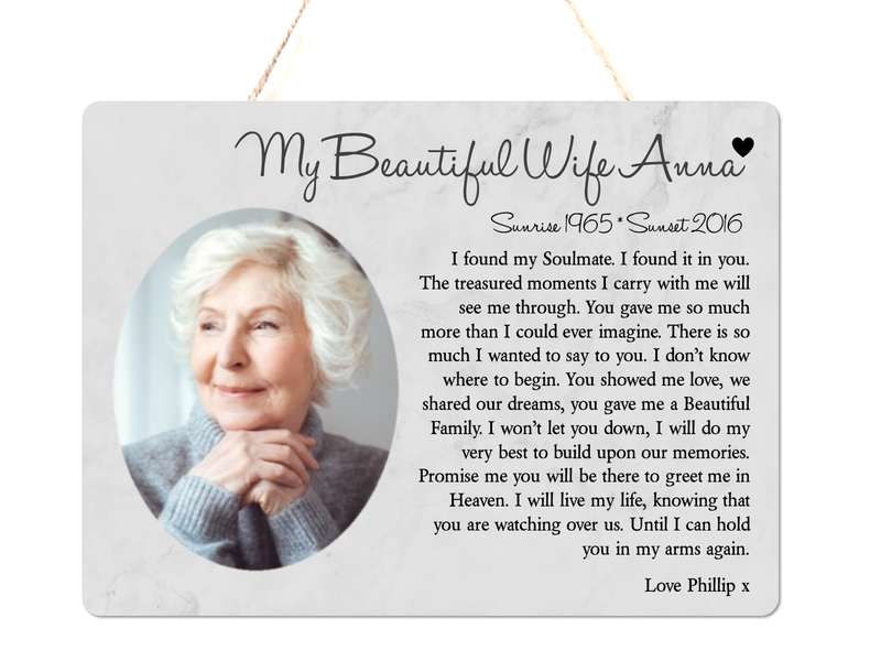 Wife Memorial Personalised Hanging Plaque - PureEssenceGreetings